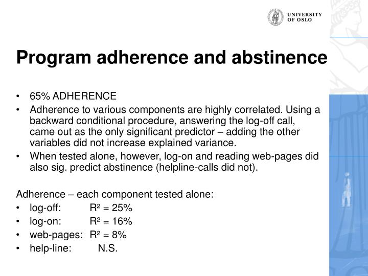 Program adherence and abstinence