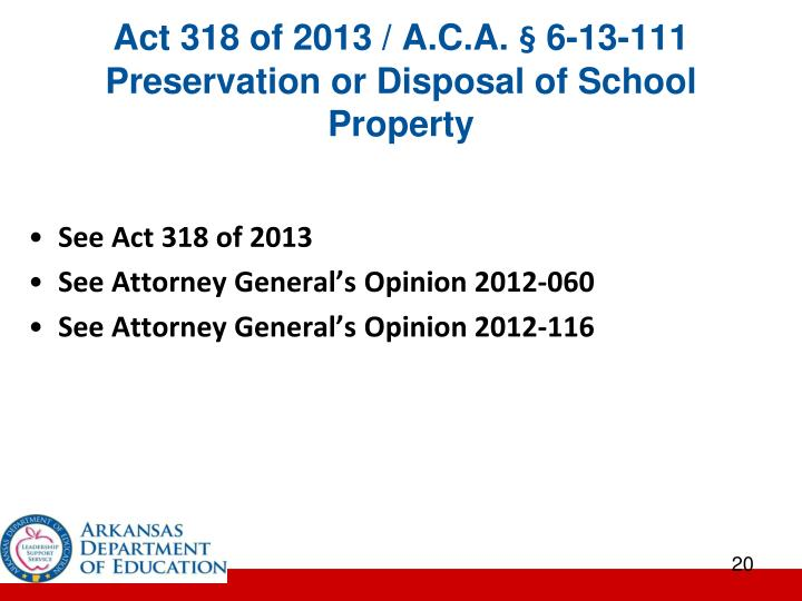 Act 318 of 2013 / A.C.A. § 6-13-111