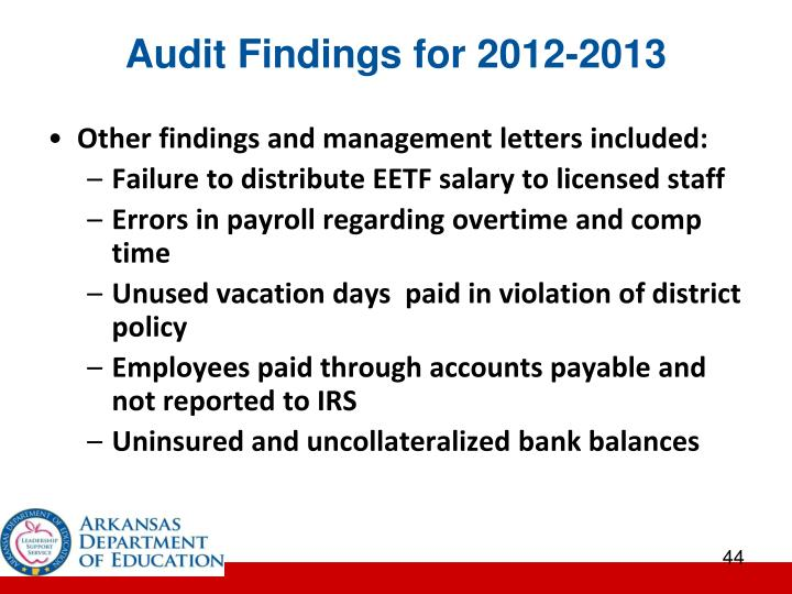 Audit Findings for 2012-2013