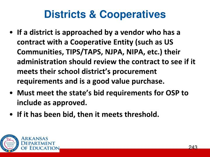 Districts & Cooperatives