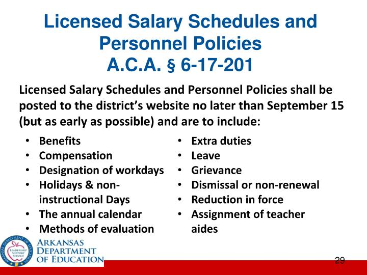 Licensed Salary Schedules and Personnel Policies