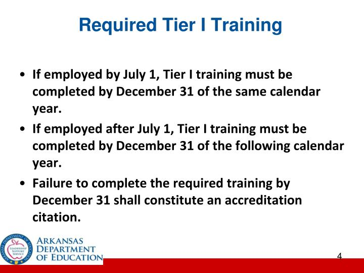 Required Tier I Training