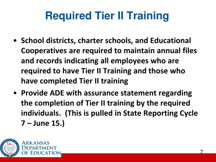 Required Tier II Training