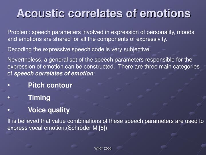 Acoustic correlates of emotions