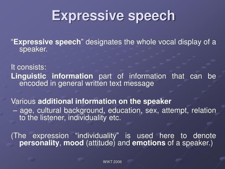 E xpressive speech