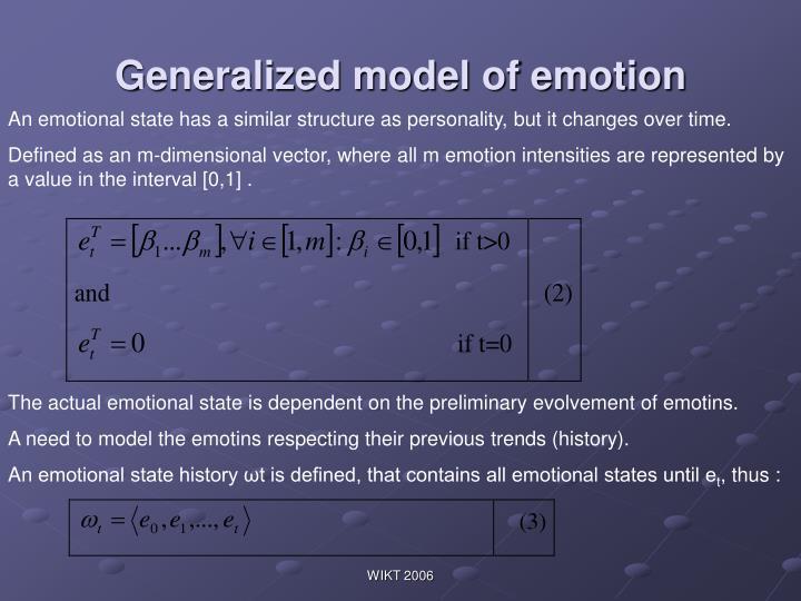 Generalized model of emotion