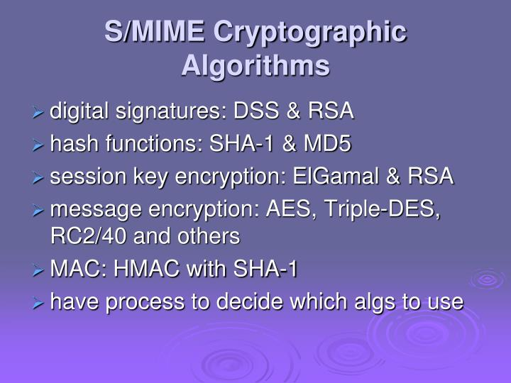 S/MIME Cryptographic Algorithms