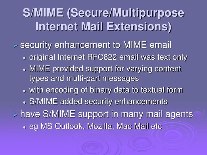 S/MIME (Secure/Multipurpose Internet Mail Extensions)