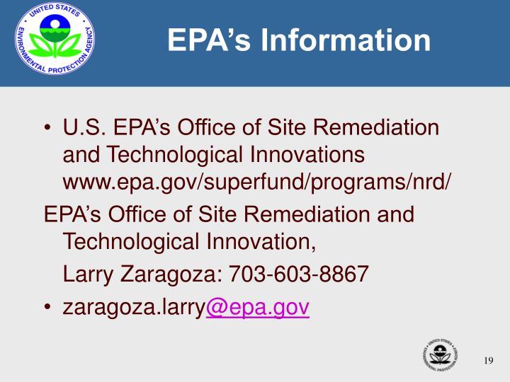 EPA's Information