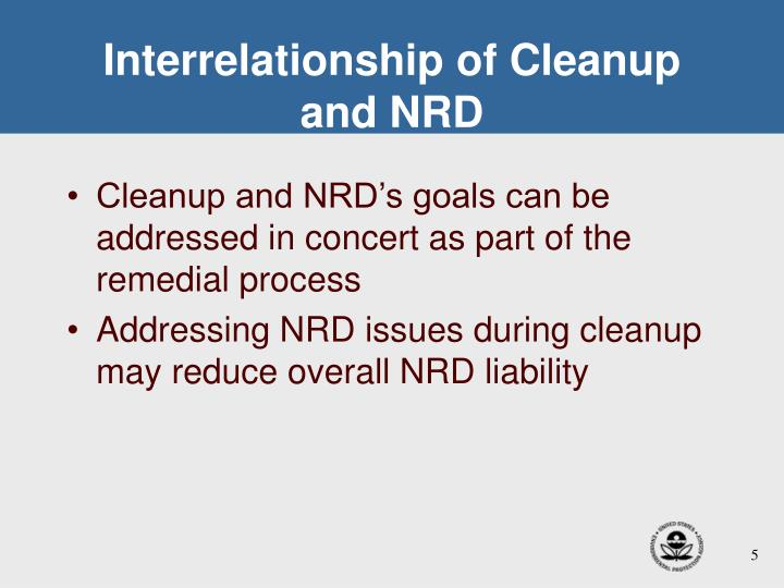 Interrelationship of Cleanup and NRD