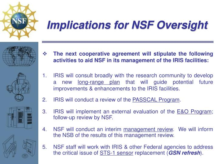 Implications for NSF Oversight