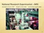 national research experimental nrx