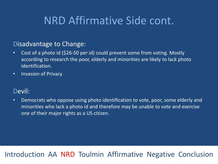 NRD Affirmative Side cont.