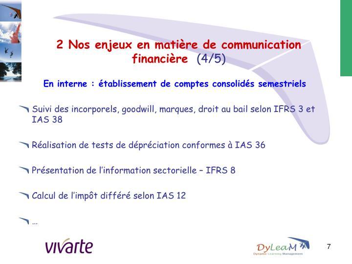 2 Nos enjeux en matière de communication financière