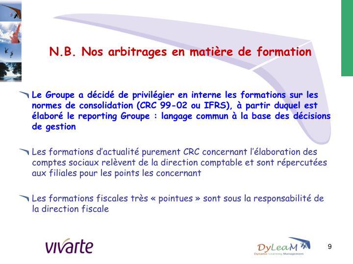N.B. Nos arbitrages en matière de formation