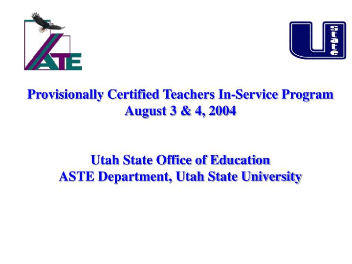 Provisionally Certified Teachers In-Service Program