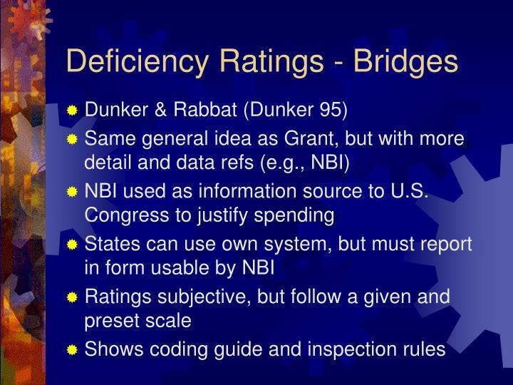 Deficiency ratings bridges
