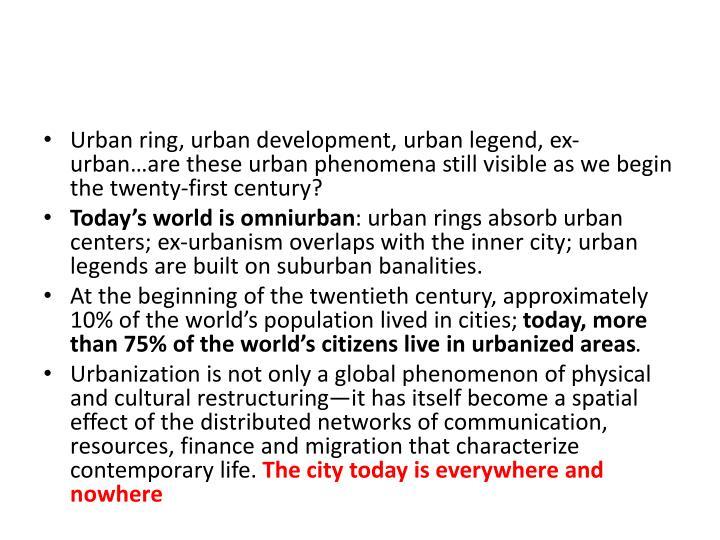 Urban ring, urban development, urban legend, ex-urban…are these urban phenomena still visible as we begin the twenty-first century?