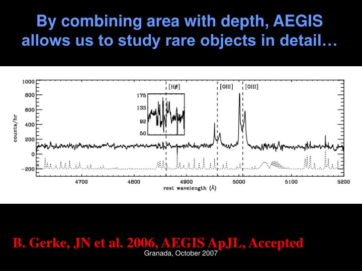 By combining area with depth, AEGIS allows us to study rare objects in detail…