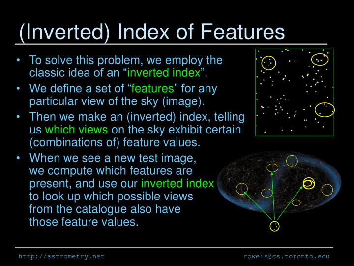 (Inverted) Index of Features