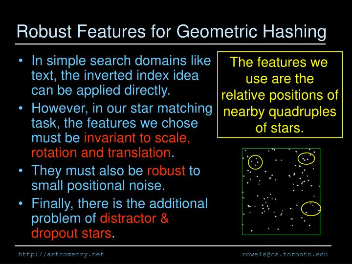 Robust Features for Geometric Hashing