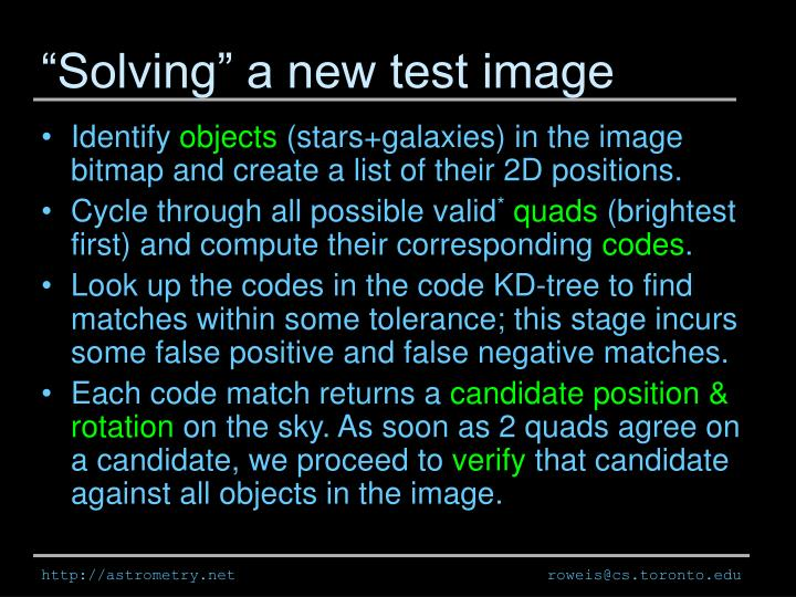 """""""Solving"""" a new test image"""
