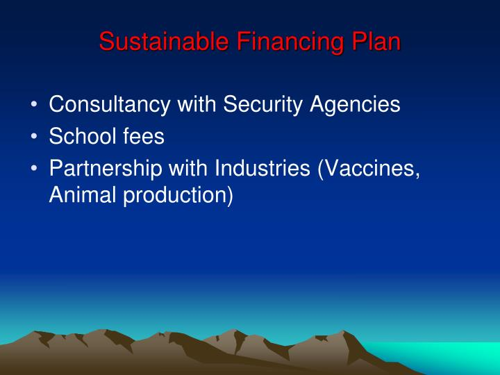 Sustainable Financing Plan