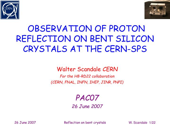OBSERVATION OF PROTON REFLECTION ON BENT SILICON
