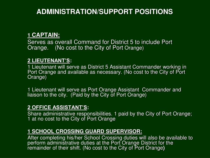 ADMINISTRATION/SUPPORT POSITIONS