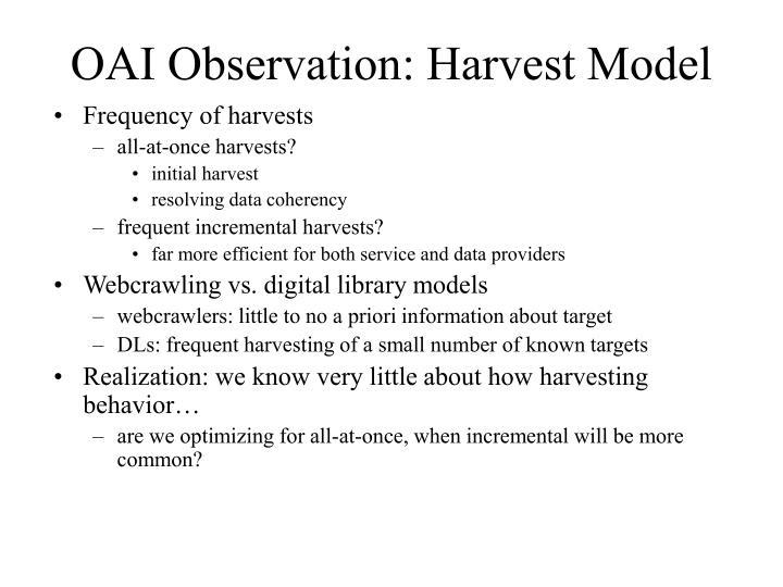 OAI Observation: Harvest Model