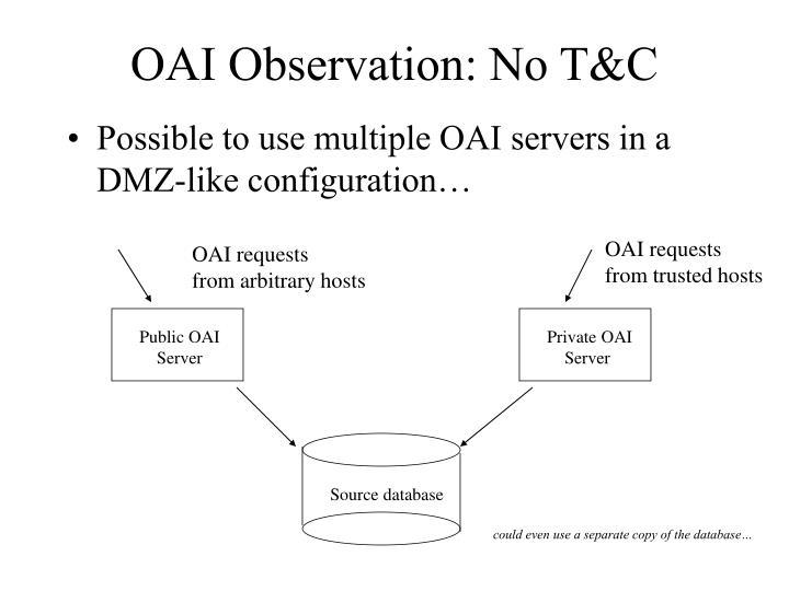 OAI Observation: No T&C