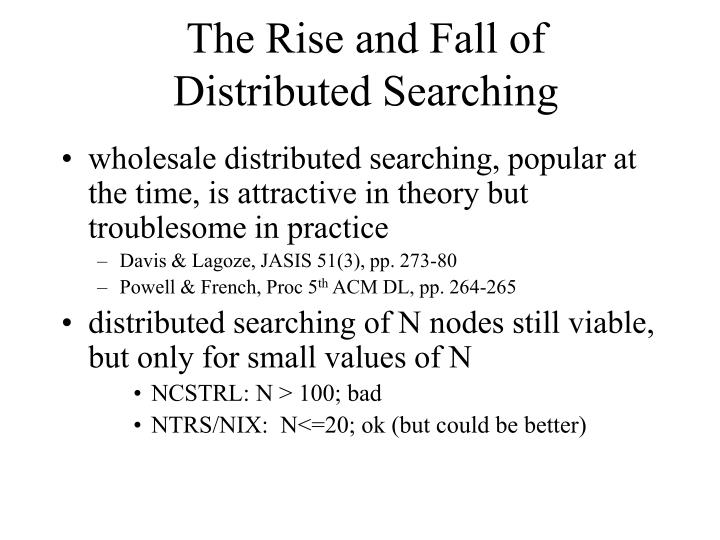 The rise and fall of distributed searching