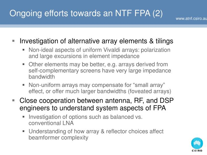Ongoing efforts towards an NTF FPA (2)