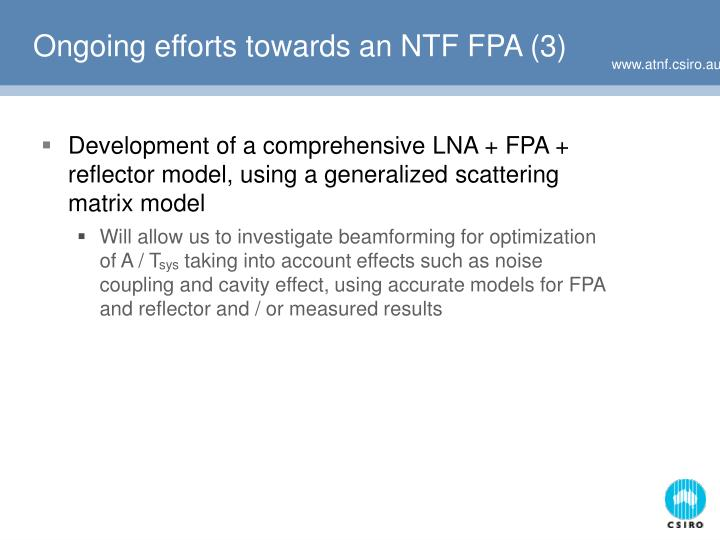 Ongoing efforts towards an NTF FPA (3)