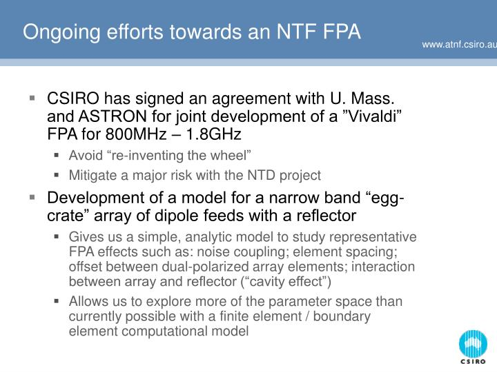 Ongoing efforts towards an NTF FPA