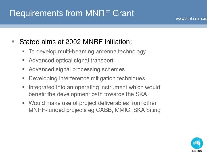 Requirements from mnrf grant