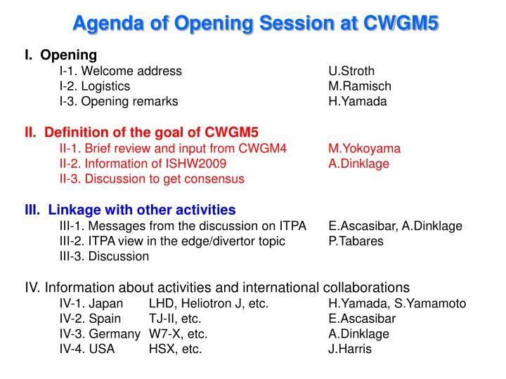 Agenda of Opening Session at CWGM5