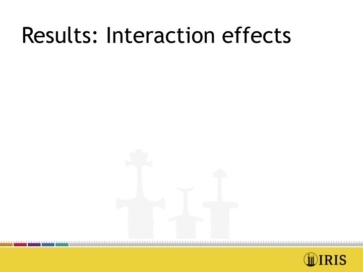 Results: Interaction effects