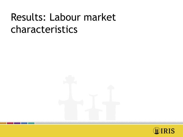 Results: Labour market characteristics