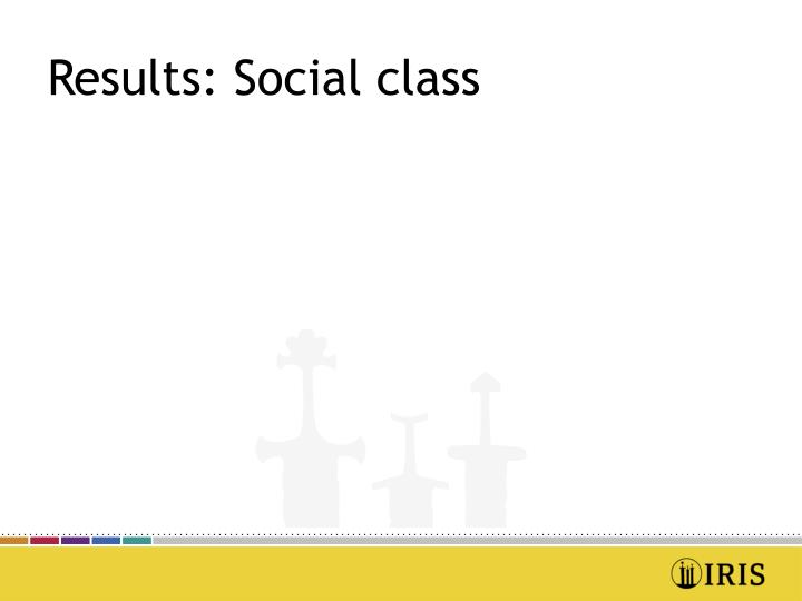 Results: Social class