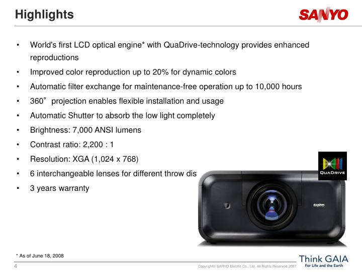 World's first LCD optical engine* with QuaDrive-technology provides enhanced reproductions
