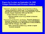 papers for lecture on september 24 2009 tamper detection and forensics analysis
