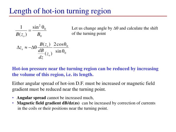 Length of hot-ion turning region