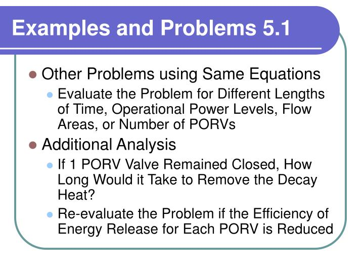 Examples and Problems 5.1