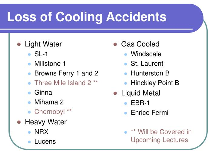 Loss of cooling accidents