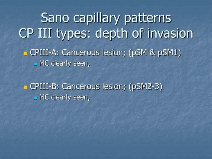 Sano capillary patterns