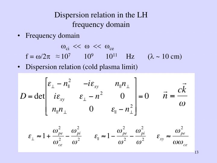 Dispersion relation in the LH frequency domain