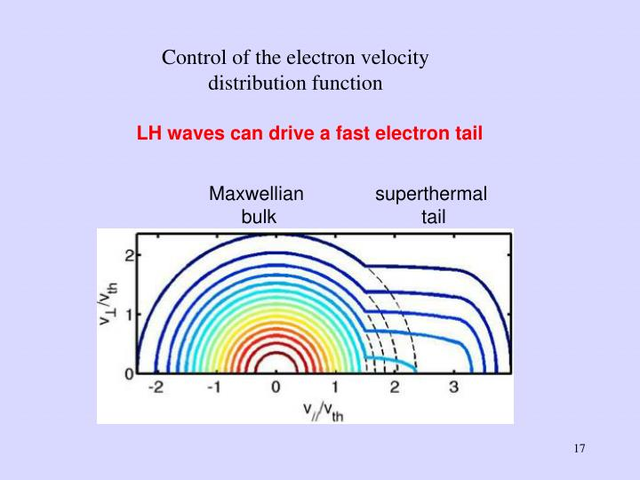 Control of the electron velocity distribution function