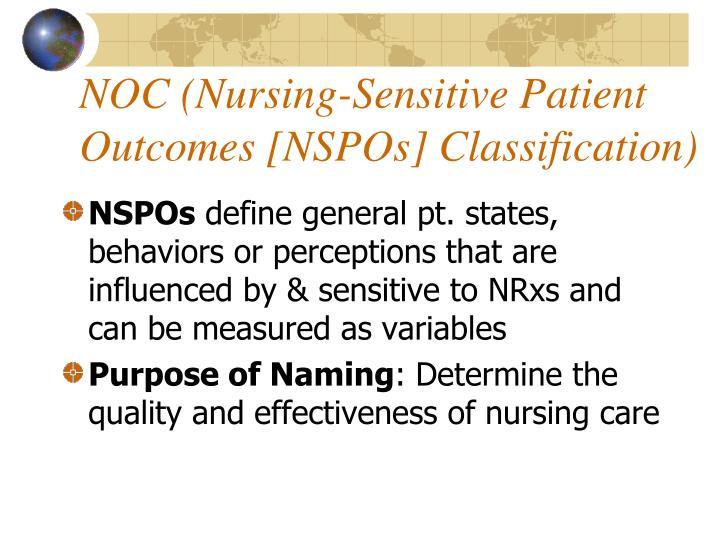 NOC (Nursing-Sensitive Patient Outcomes [NSPOs] Classification)