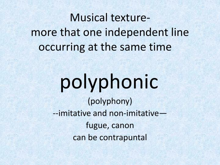 Musical texture-